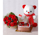 Giftacrossindia Ten Red Roses with Teddy Bear and Heart Shape Chocolate Cake (GAIMPHD0327)
