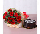 Giftacrossindia Twelve Red Roses Bunch with Yummy Chocolate Cake (GAIMPHD0335)