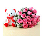 Giftacrossindia Exclusive Bunch of Pink Roses with Small Teddy Bear (GAIMPHD0555)