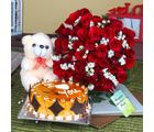 Giftacrossindia Red Roses Bouquet And Teddy Bear With Cake For Mothers Day