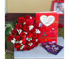 Giftacrossindia Red Roses Bouquet With Cadbury Dairy Milk Chocolate And Love Greeting Card (GAIVALHD20190341)