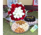 Giftacrossindia Chocolate Cake With Mix Dryfruits And Roses Bouquet