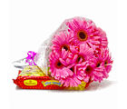 Giftacrossindia Bouquet of Ten Pink Gerberas with 500 Gms Soan Papdi Sweet (GAIMPHD0405)