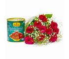 Giftacrossindia Lovely Ten Red Roses with Tempting Gulab Jamuns (GAIMPHD0414)