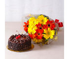 Giftacrossindia Half Kg Choco Chip Cake and Gerberas Bouquet (GAIMPHD0323)