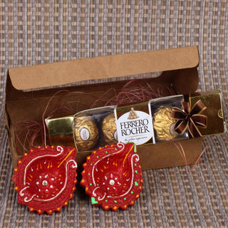 Giftacrossindia Rocher With Diya Hamper