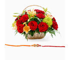 Giftacrossindia Rakhi With Mix Flowers Basket