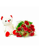 Giftacrossindia Bouquet of Ten Red Roses with Cute Teddy Bear (GAIMPHD0496)