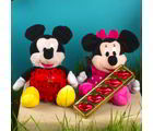 Giftacrossindia Mickey And Minnie Mouse Soft Toy And Red Love Heart With Lip Shaped Chocolate (GAICOUVAL2019167)