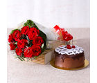 Giftacrossindia Delicious Chocolate Cake with Ten Red Roses Bunch (GAIMPHD0325)