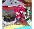 Giftacrossindia Chocolate Cake With Pink Roses Bouquet