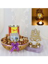 Giftacrossindia Shadow Diya With Rasgulla Sweets And Dry Fruits Hamper