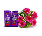 Giftacrossindia 6 Pink Roses of Bouquet with Two Bars of Cadbury Fruit and Nut Chocolate (GAIMPHD0124)