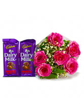 Giftacrossindia 6 Pink Roses Of Bouquet With Two B...