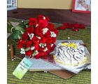 Giftacrossindia Vanilla Cake With Twenty Five Red Roses Bouquet