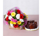 Giftacrossindia Colorful Fresh Flowers with Yummy Chocolate Cake (GAIMPHD0342)