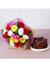 Giftacrossindia Colorful Fresh Flowers with Yummy Chocolate Cake (GAIMPHD0342)