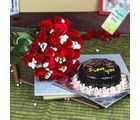 Giftacrossindia Twenty Five Red Roses Bouquet With Chocolate Cake