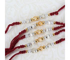 Giftacrossindia Glowing Silver And Golden Beads Rakhi Set