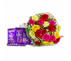 Giftacrossindia Bunch of Tewnty Colourful Roses with Bars of Cadbury Dairy Milk Chocolates (GAIMPHD0153)