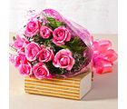 Giftacrossindia Beautiful Ten Pink Roses Hand Tied Bunch (GAIMPHD0064)