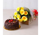 Giftacrossindia Ten Yellow Roses with Choco Chips Chocolate Cake (GAIMPHD0324)
