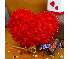 Giftacrossindia Valentine Combo Of Roses Heart With Golden Rose And Chocolates (GAICOUVAL2019134)