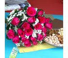 Giftacrossindia Pink Roses With Assorted Dryfruits
