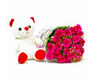 Giftacrossindia Twenty Pink Roses Bouquet with Teddy Bear (GAIMPHD0476)