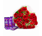 Giftacrossindia Bunch of Twenty Red Roses with Five Cadbury Dairy Milk Chocolate Bars (GAIMPHD0190)