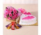 Giftacrossindia Hearty Strawberry Cake and Pink Roses Combo (GAIMPHD0517)