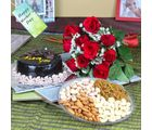 Giftacrossindia Red Roses Bouquet With Chocolate Cake And Assorted Dryfruits