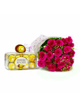 Giftacrossindia Pink Roses Bouquet with 200 Gms Ferrero Rocher Chocolate Box (GAIMPHD0184)
