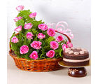 Giftacrossindia Basket Arrangement of 18 Pink Roses with Fresh Cream Chocolate Cake (GAIMPHD0593)