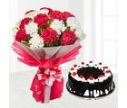 Giftacrossindia Red and White Carnations Bouquet with Half Kg Black Forest Cake (GAIMPHD0294)