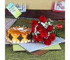 Giftacrossindia Butterscotch Cake With Ted Red Roses Bouquet