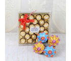 Giftacrossindia Earthen Diya And Ferrero Rocher Chocolate