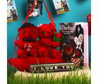 Giftacrossindia Hanging Couple Teddy With Love You Chocolate And Greeting Card (GAICOUVAL2019152)
