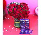 Giftacrossindia Assorted Cadbury Chocolate With Red Roses Arrangement (GAIVALHD20190391)