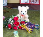 Giftacrossindia Chocolates And Teddy With Roses Combo For Mothers Day