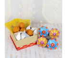 Giftacrossindia Colorful Earthen Diya And Assorted Sweets