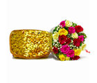 Giftacrossindia Twenty Colorful Roses with Mix Dry Fruit in a Basket (GAIMPHD0365)