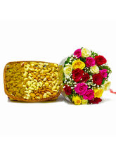 Giftacrossindia Twenty Colorful Roses With Mix Dry...