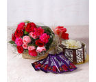 Giftacrossindia Roses and Carnations with Chocolate Cake and Cadbury Bars (GAIMPHD0332)