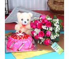 Giftacrossindia Twelve Pink Roses And Teddy With Strawberry Cake For Mothers Day