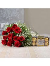 Giftacrossindia Ferrero Rocher Chocolates with Fresh Twelve Red Roses Bouquet (GAIMPHD0196)