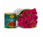 Giftacrossindia Bouquet of 20 Pink Roses with Mouthmelting Gulab Jamuns (GAIMPHD0436)