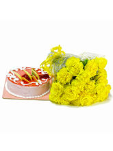 Giftacrossindia Bouquet Of Yellow Carnations With ...