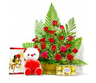 Giftacrossindia Red Roses Arrangement with Chocolates, Greeting Card and Sof Toy (GAIMPHD0470)