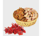 Giftacrossindia Diwali Express Gifts - Diwali Combo Of Basket Of Raisins And Pista With Red Firecrackers